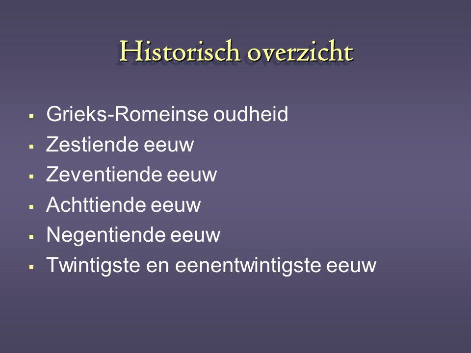 Historisch overzicht Grieks-Romeinse oudheid Zestiende eeuw