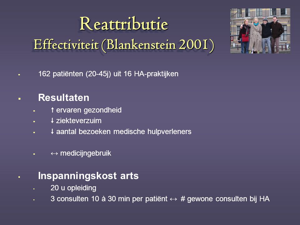 Reattributie Effectiviteit (Blankenstein 2001)