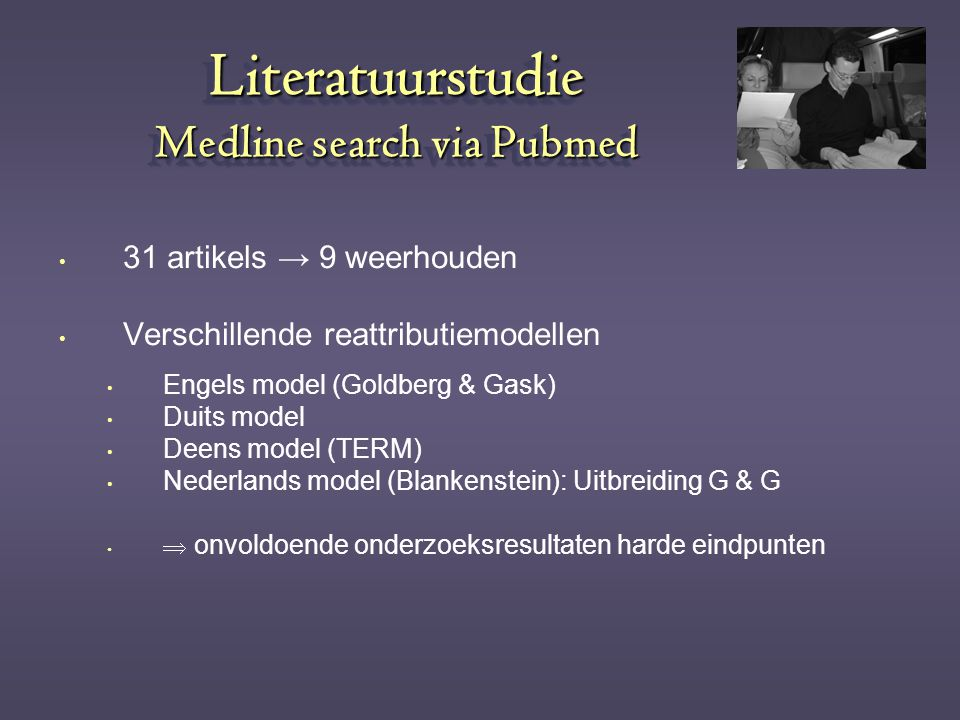 Literatuurstudie Medline search via Pubmed