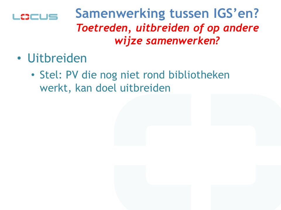 Samenwerking tussen IGS'en