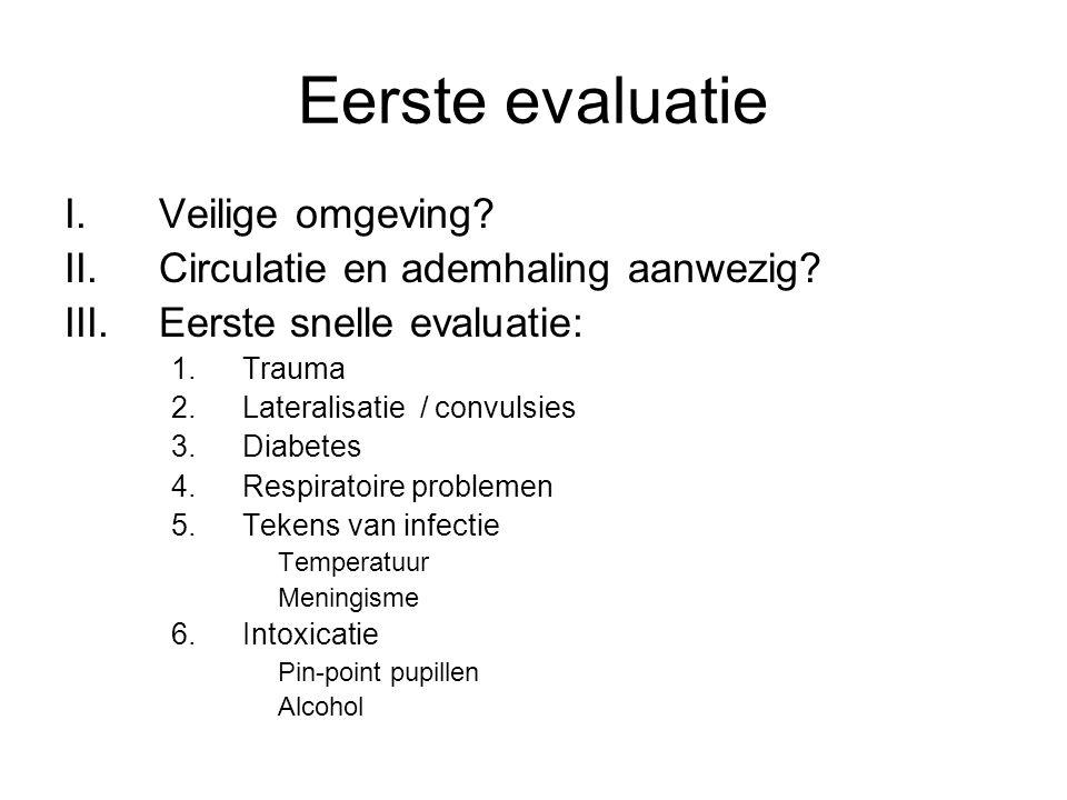 Eerste evaluatie Veilige omgeving Circulatie en ademhaling aanwezig
