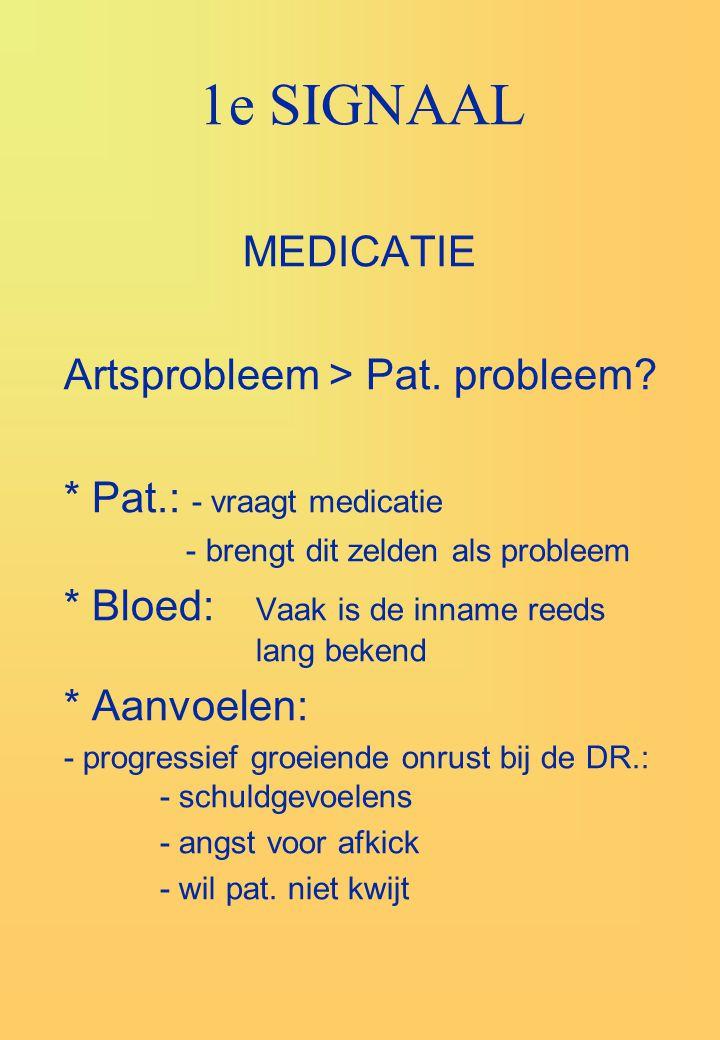 1e SIGNAAL MEDICATIE Artsprobleem > Pat. probleem