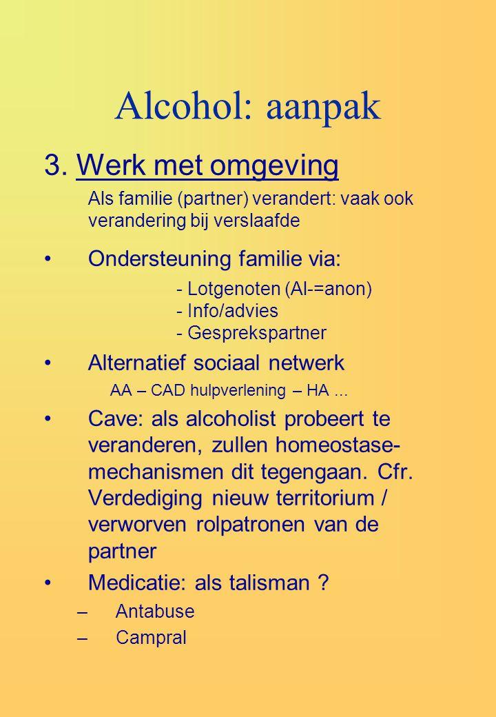 Alcohol: aanpak 3. Werk met omgeving Ondersteuning familie via: