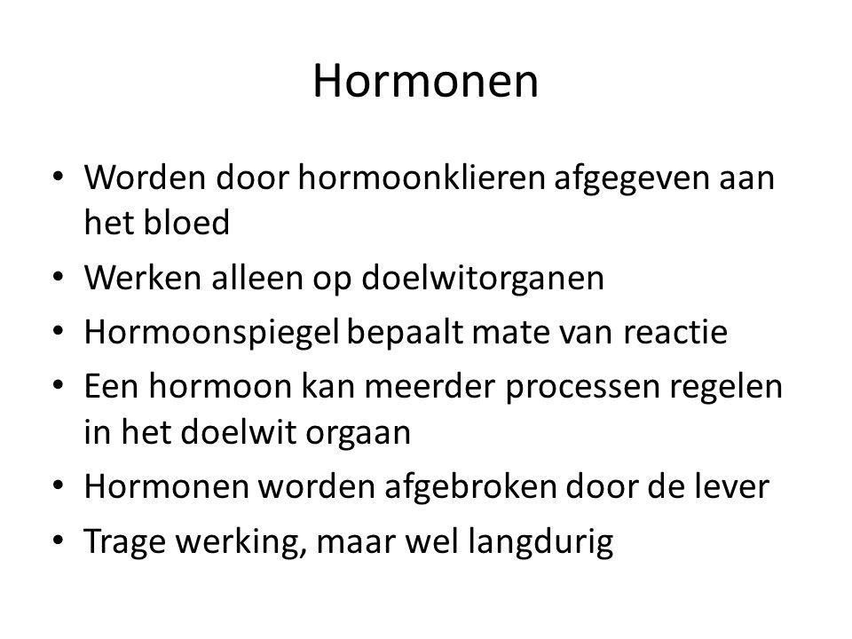 Hormonen Worden door hormoonklieren afgegeven aan het bloed