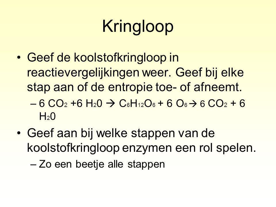 Kringloop Geef de koolstofkringloop in reactievergelijkingen weer. Geef bij elke stap aan of de entropie toe- of afneemt.