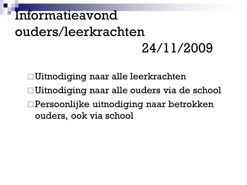 Informatieavond ouders/leerkrachten 24/11/2009