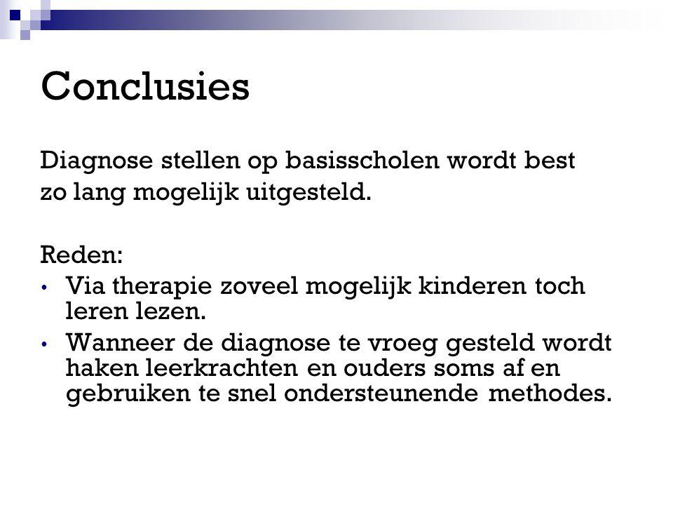 Conclusies Diagnose stellen op basisscholen wordt best