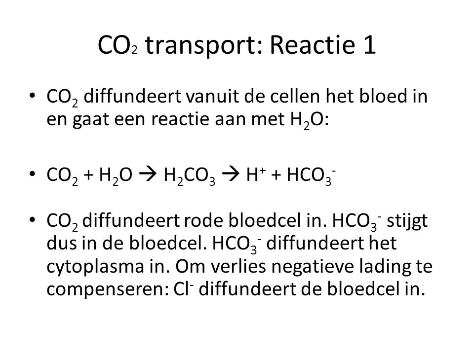 CO2 transport: Reactie 1 CO2 diffundeert vanuit de cellen het bloed in en gaat een reactie aan met H2O:
