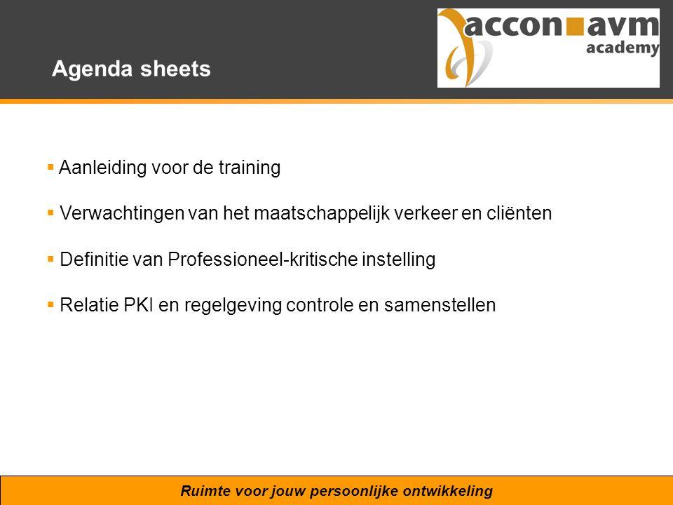 Agenda sheets Aanleiding voor de training