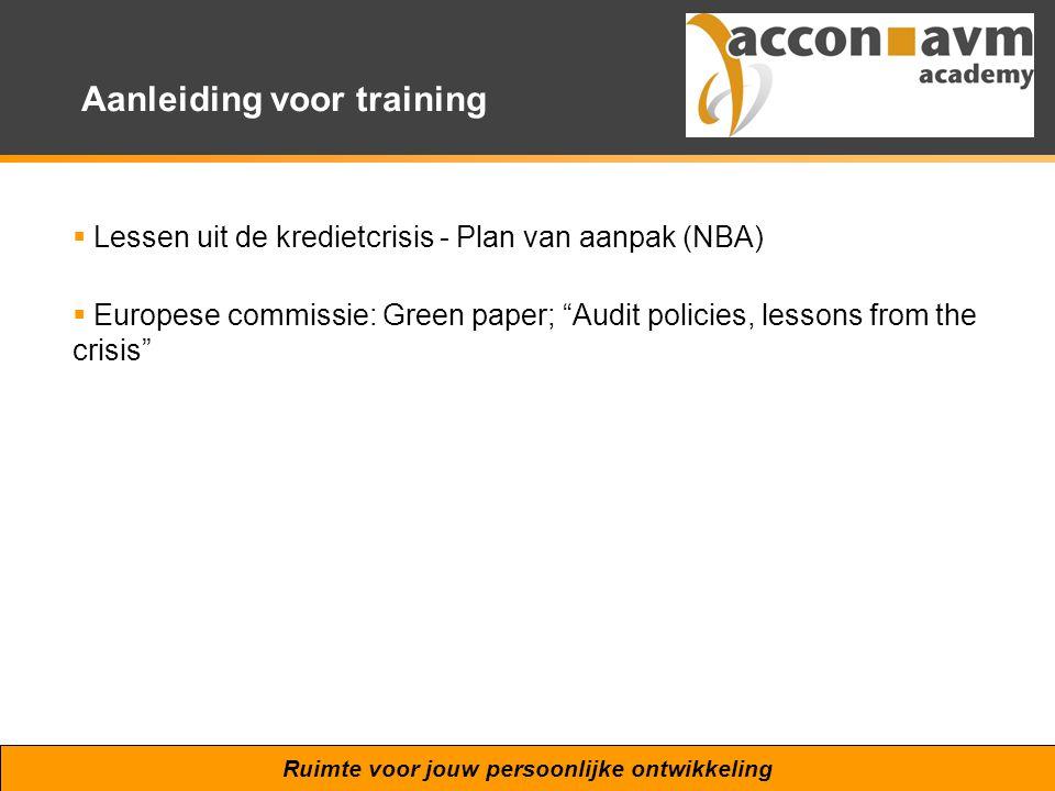 Aanleiding voor training