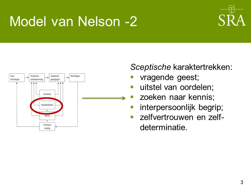 Model van Nelson -2 Sceptische karaktertrekken: vragende geest;