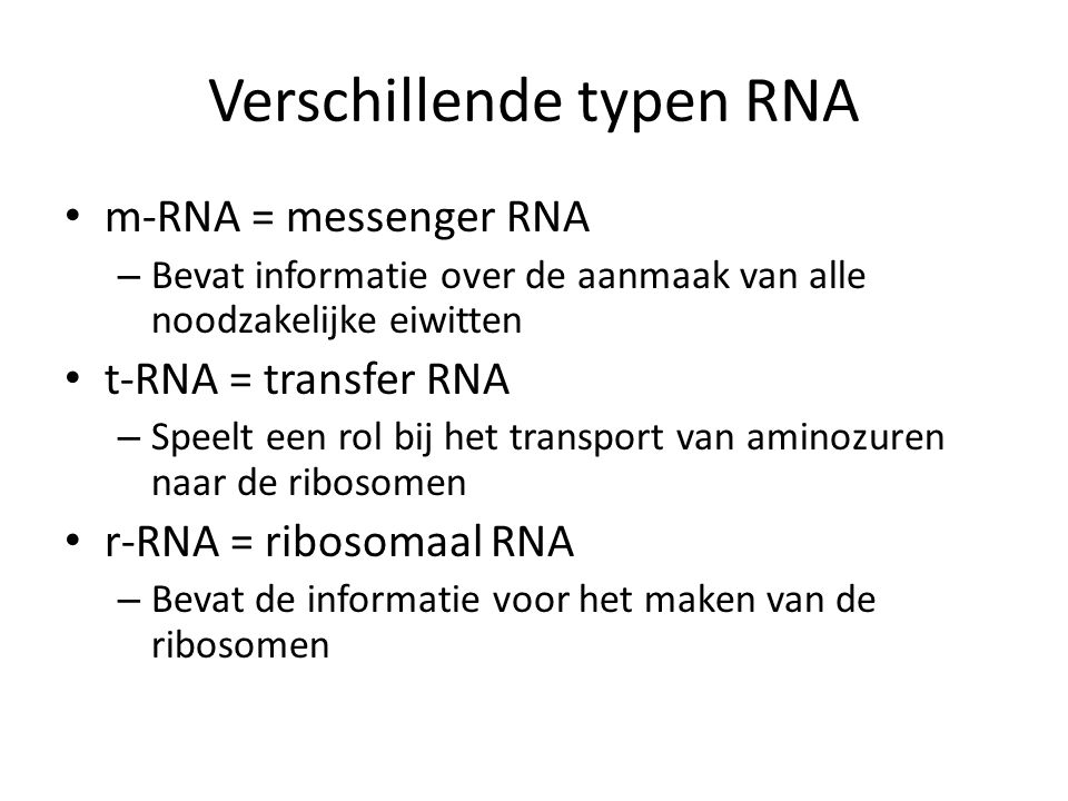 Verschillende typen RNA