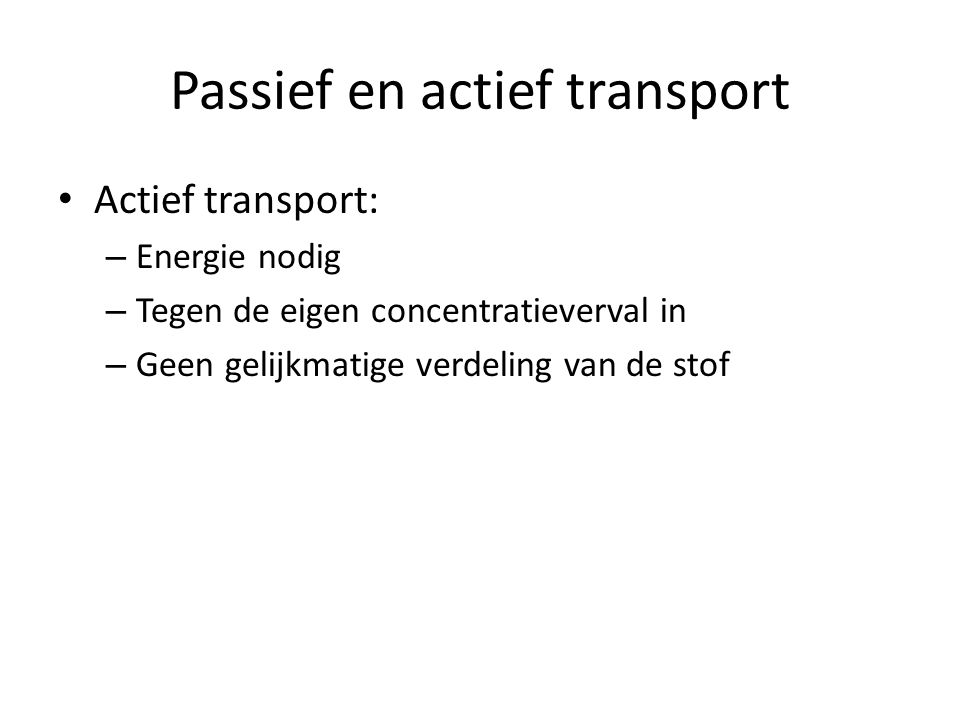 Passief en actief transport