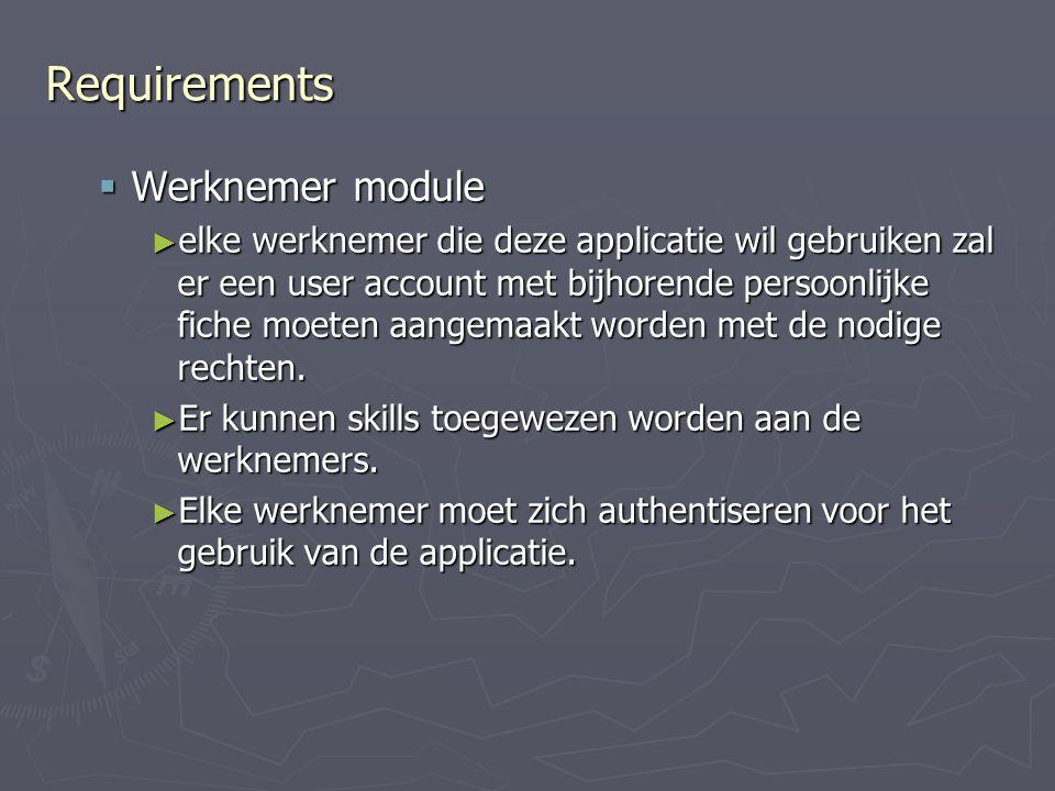 Requirements Werknemer module