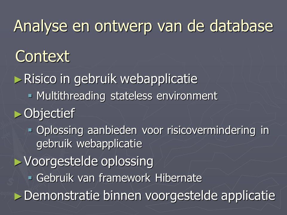 Analyse en ontwerp van de database