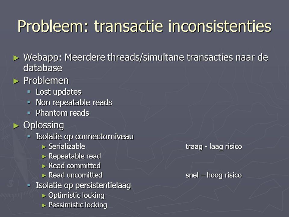 Probleem: transactie inconsistenties
