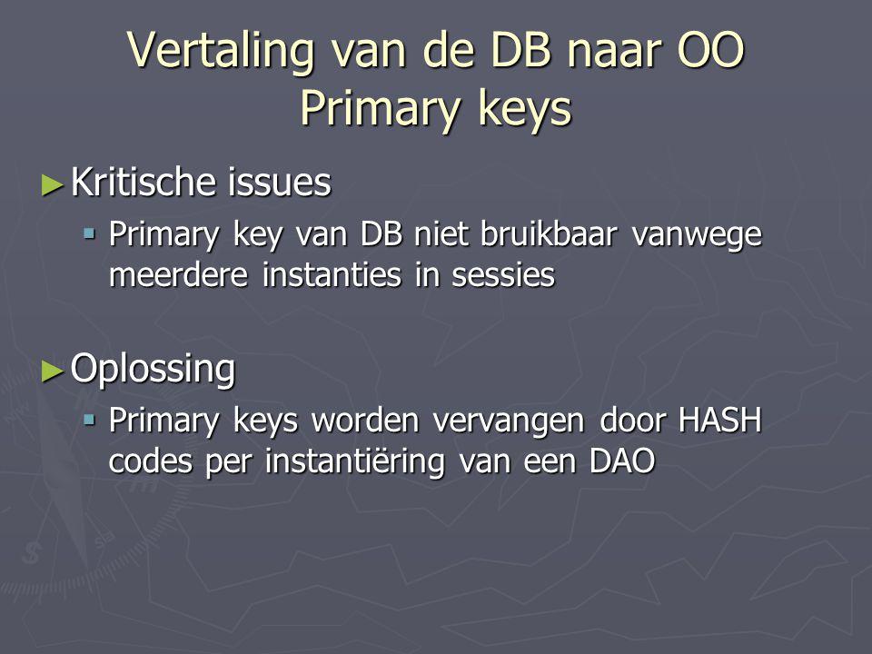 Vertaling van de DB naar OO Primary keys