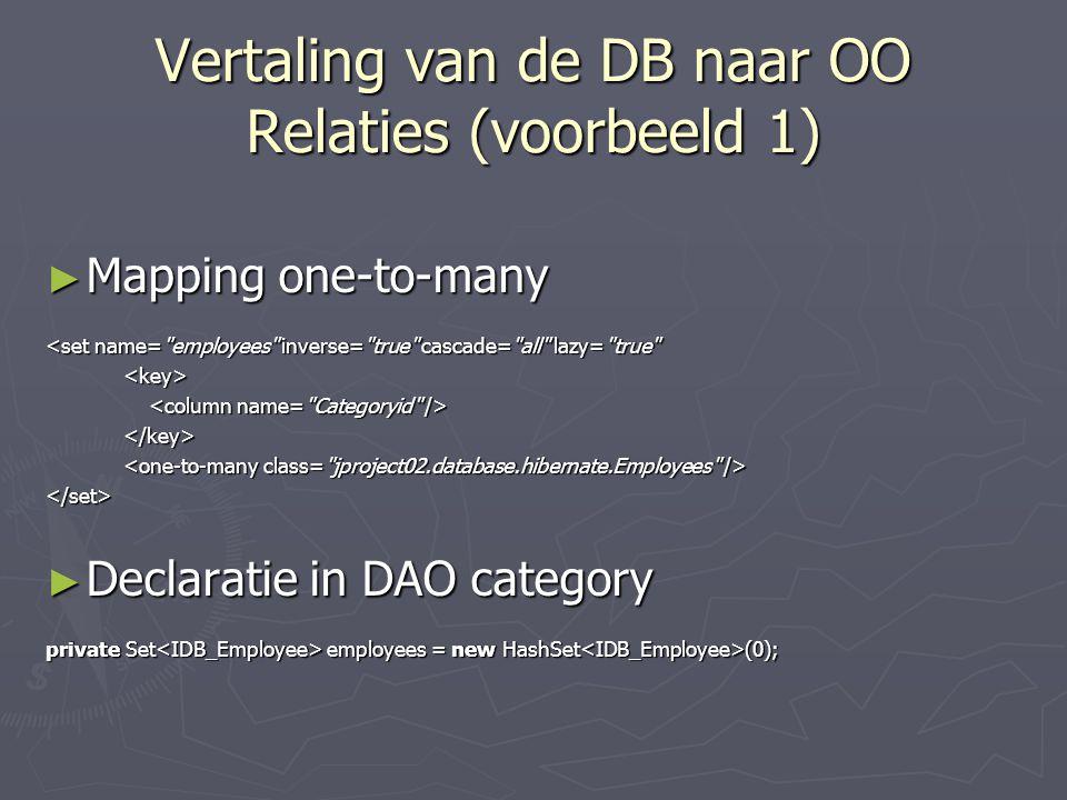 Vertaling van de DB naar OO Relaties (voorbeeld 1)