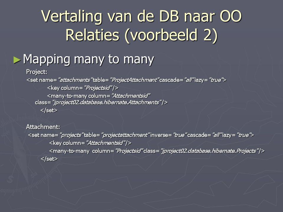 Vertaling van de DB naar OO Relaties (voorbeeld 2)