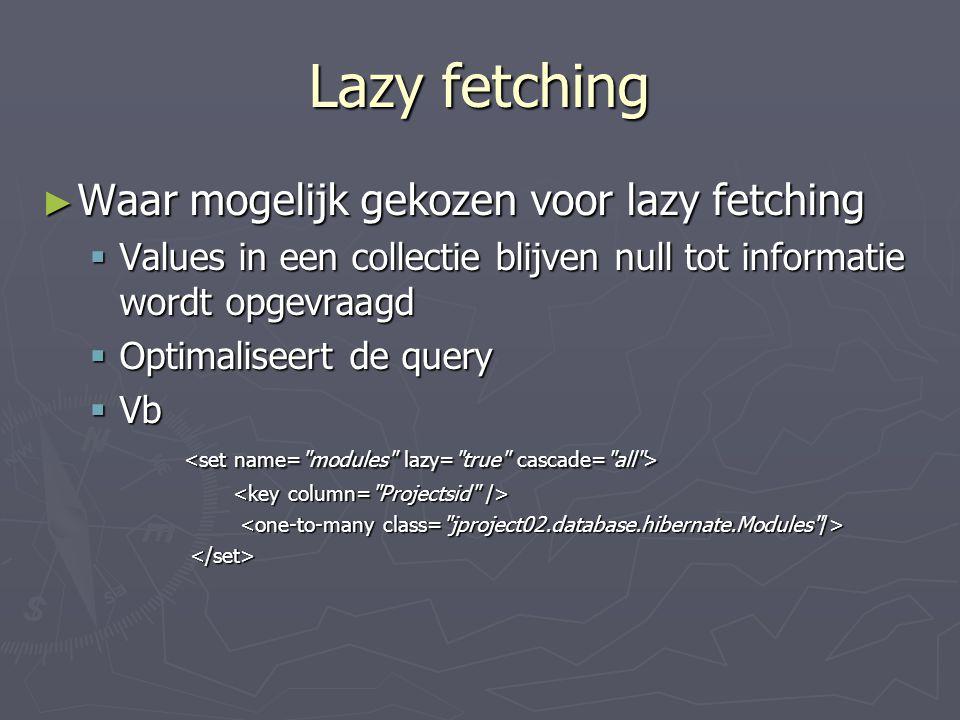 Lazy fetching Waar mogelijk gekozen voor lazy fetching