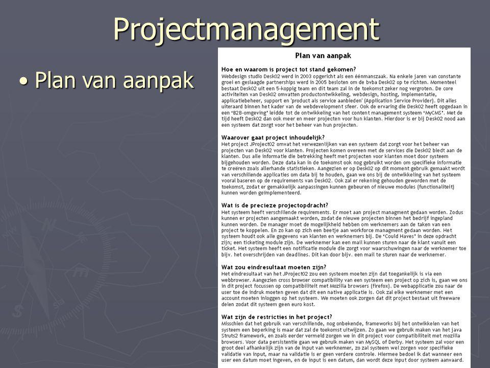 Projectmanagement Plan van aanpak