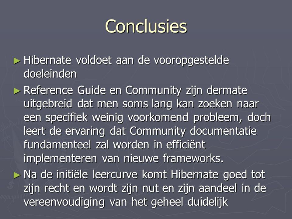 Conclusies Hibernate voldoet aan de vooropgestelde doeleinden