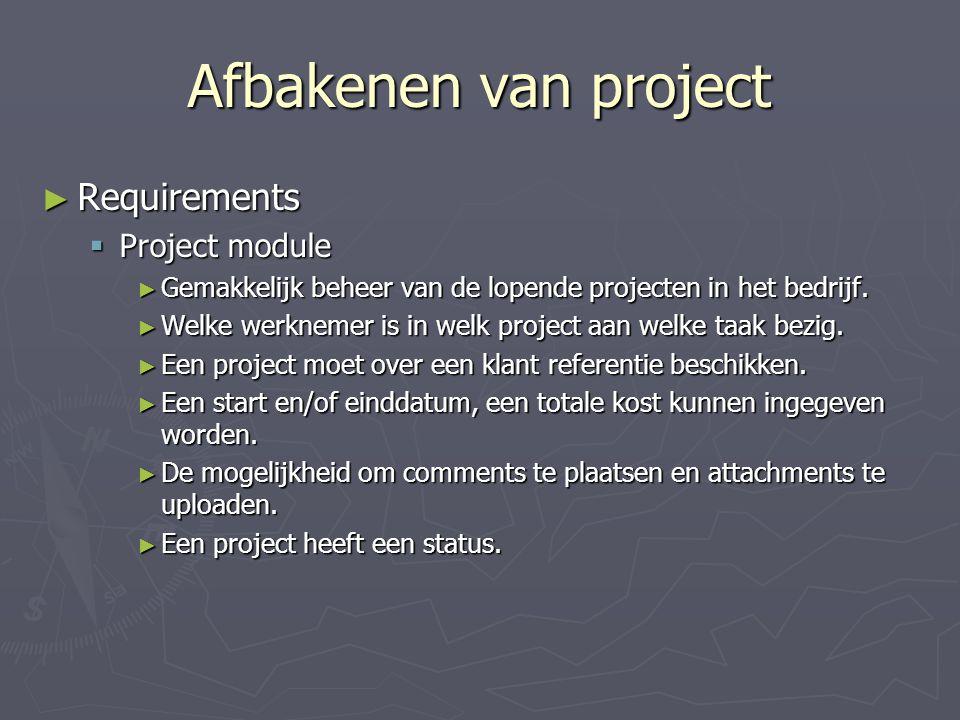 Afbakenen van project Requirements Project module