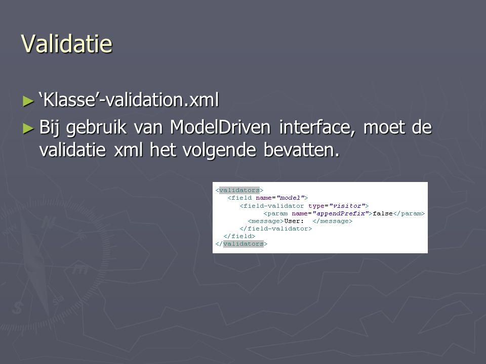 Validatie 'Klasse'-validation.xml