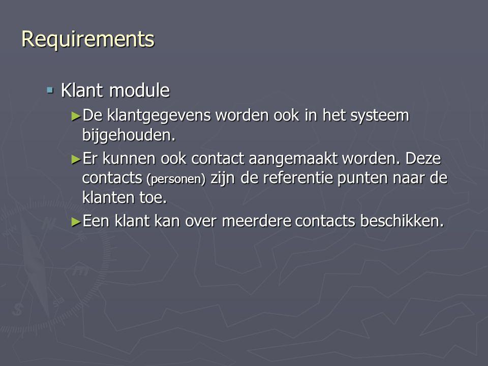 Requirements Klant module