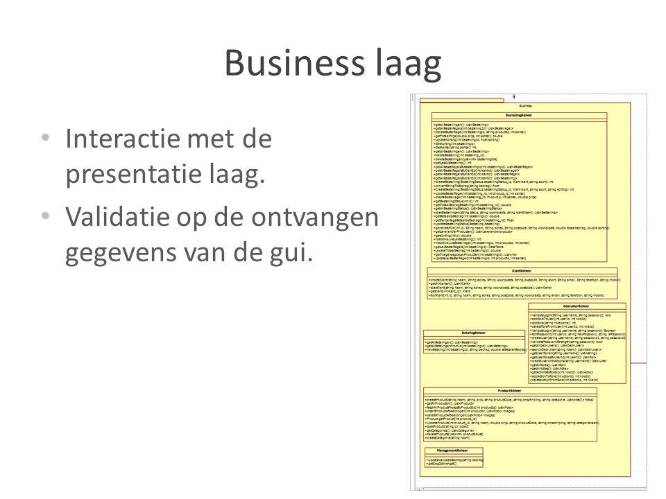 Business laag Interactie met de presentatie laag.