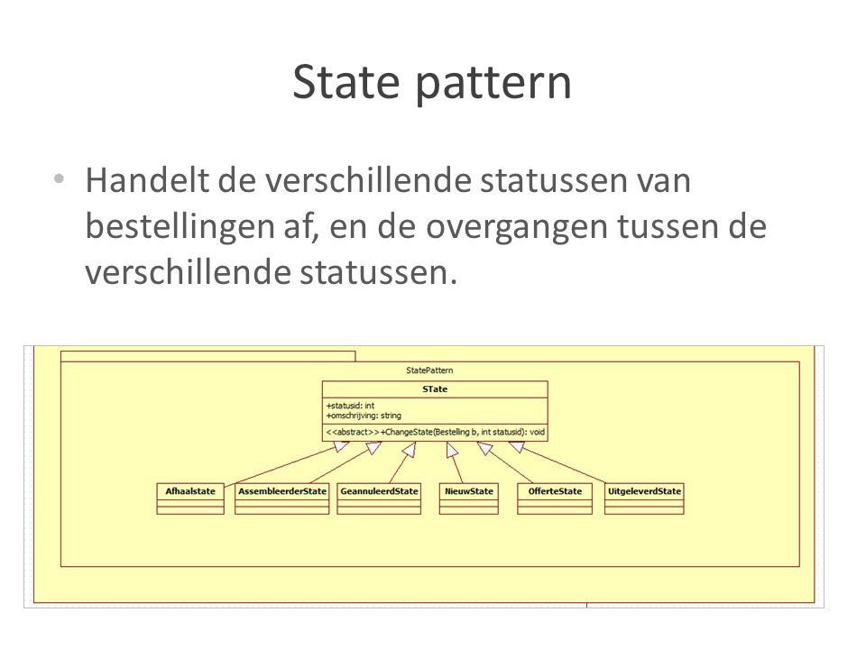 State pattern Handelt de verschillende statussen van bestellingen af, en de overgangen tussen de verschillende statussen.