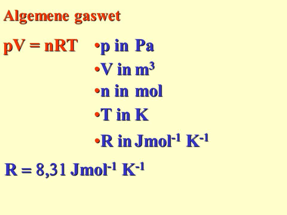pV = nRT p in Pa V in m3 n in mol T in K R in Jmol-1 K-1