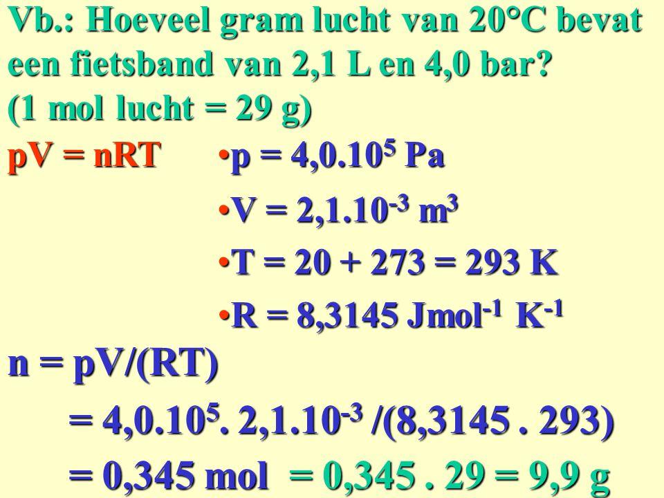 Vb.: Hoeveel gram lucht van 20°C bevat een fietsband van 2,1 L en 4,0 bar