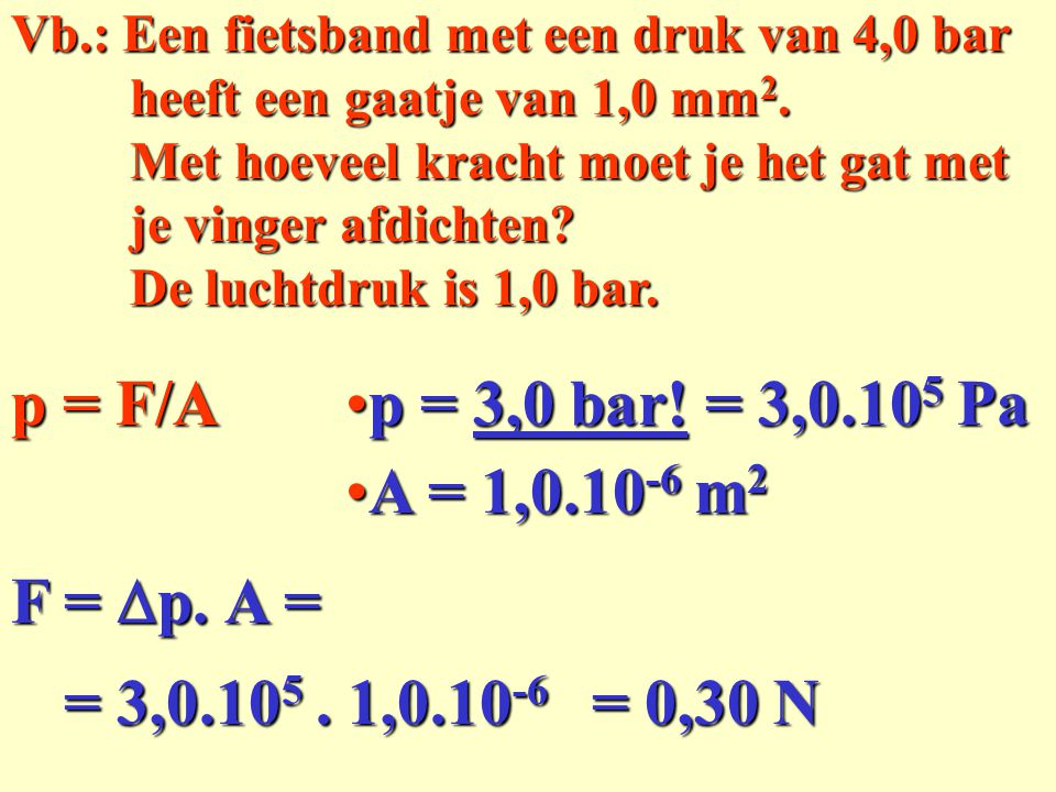 p = F/A p = 3,0 bar! = 3,0.105 Pa A = 1,0.10-6 m2 F = Dp. A =
