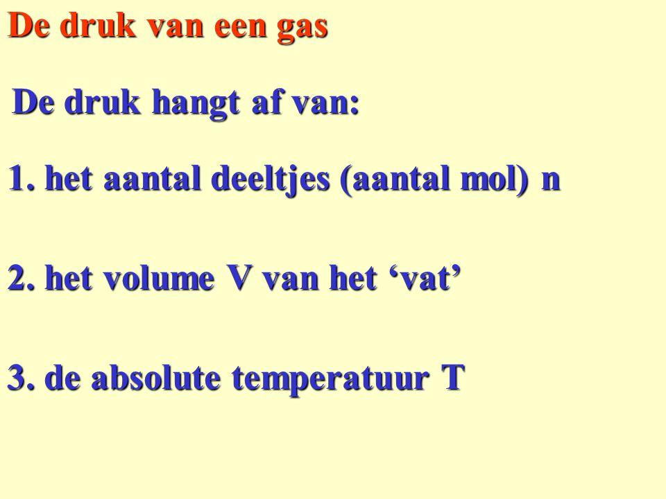 De druk van een gas De druk hangt af van: 1. het aantal deeltjes (aantal mol) n. 2. het volume V van het 'vat'
