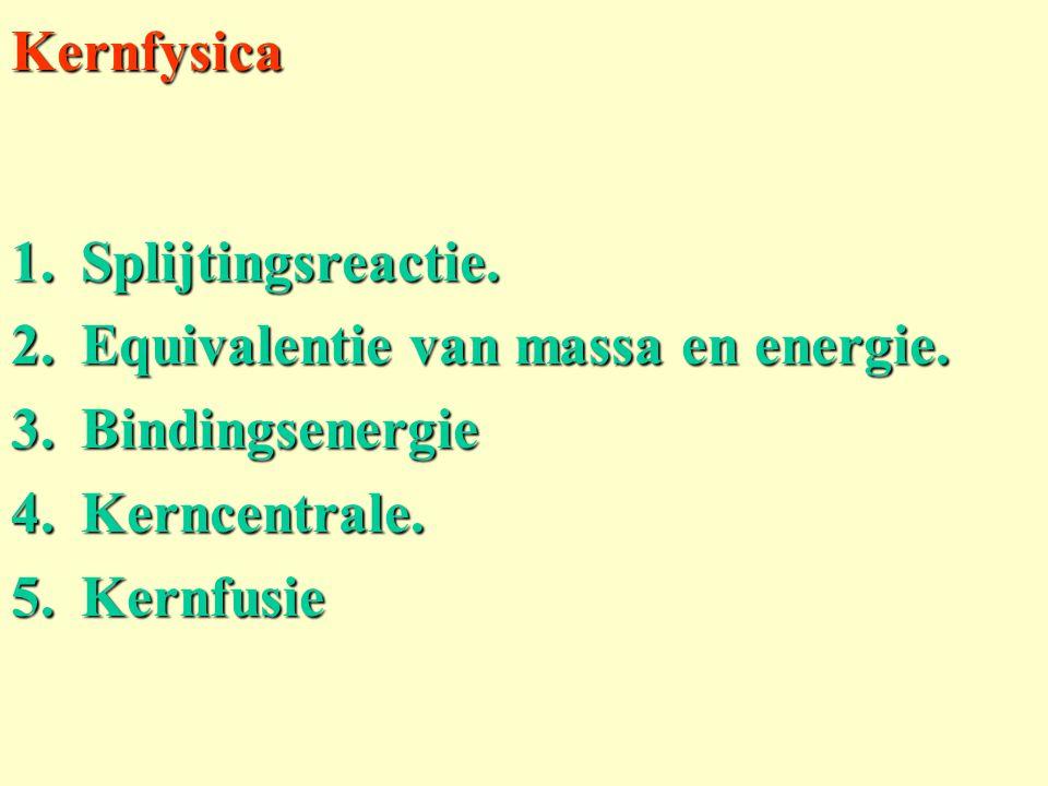 Kernfysica Splijtingsreactie. Equivalentie van massa en energie.