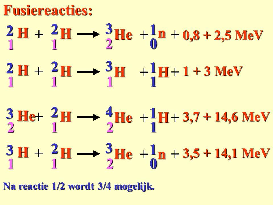 Fusiereacties: + 2 H 3 He 1 n 1 1 2 H 1 + 2 3 H 1 + 3 He 4 2 n 1 + 3 H