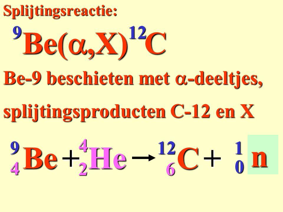 Be(a,X) C He Be C + X n Be-9 beschieten met a-deeltjes,
