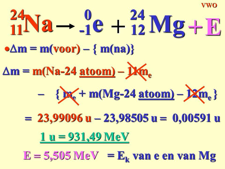 Na e + Mg + E 11 24 -1 12 Dm = m(voor) – { m(na)}