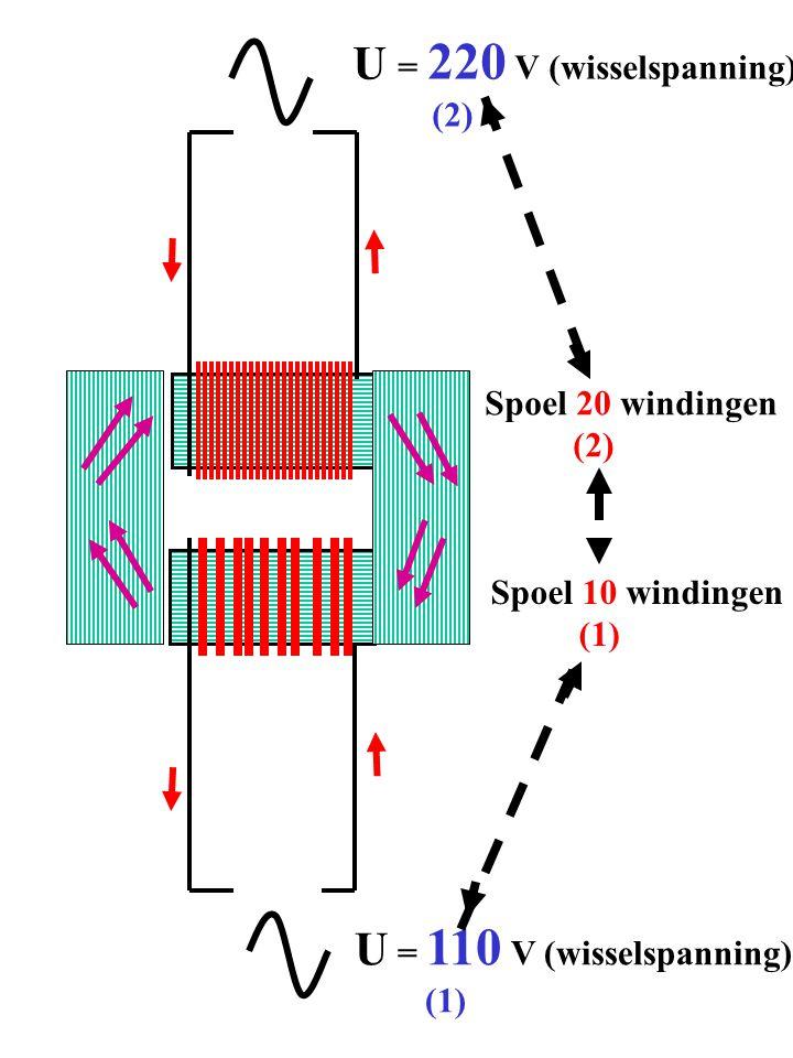 U = 220 V (wisselspanning) U = 110 V (wisselspanning) (2)