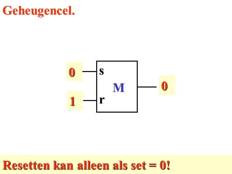 Geheugencel. 1 M r s 1 Resetten kan alleen als set = 0!