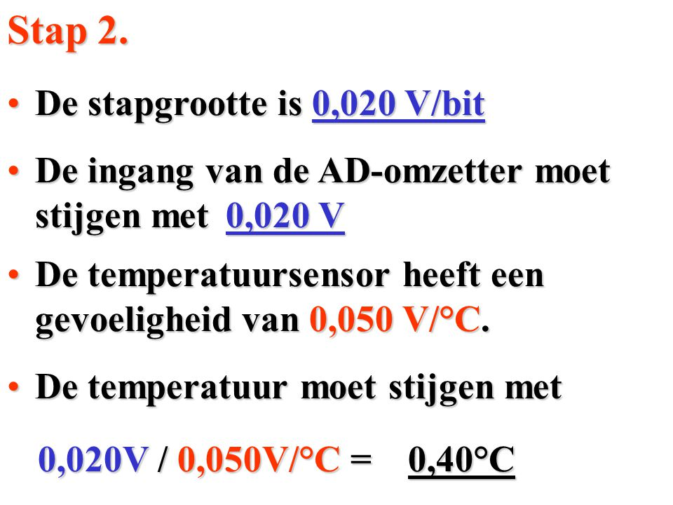 Stap 2. De stapgrootte is 0,020 V/bit
