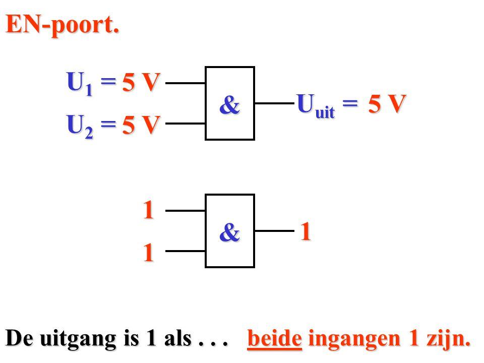 EN-poort. U1 = 5 V & 5 V Uuit = U2 = 5 V 1 & 1 1