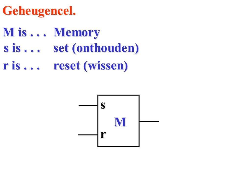 Geheugencel. M is . . . Memory s is . . . set (onthouden) r is . . . reset (wissen) s M r