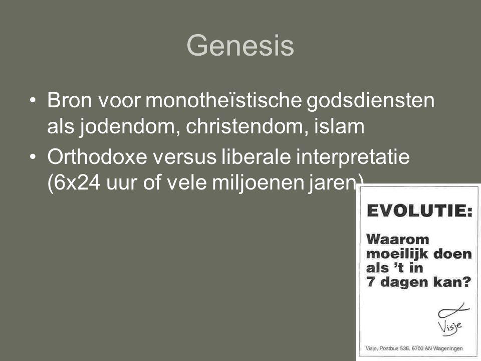 Genesis Bron voor monotheïstische godsdiensten als jodendom, christendom, islam.