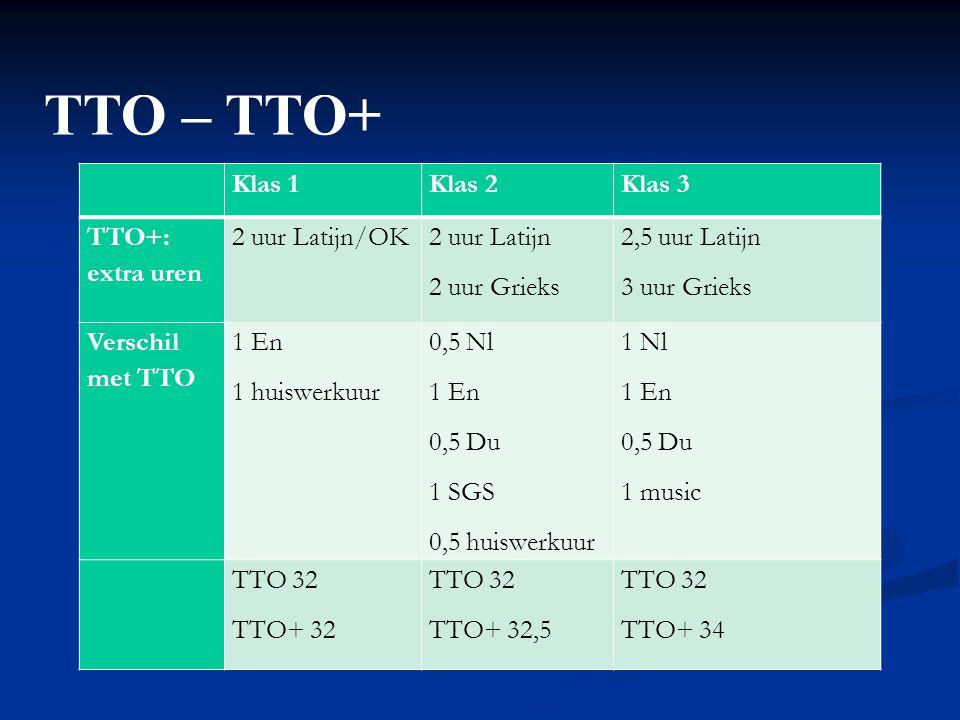 TTO – TTO+ Klas 1 Klas 2 Klas 3 TTO+: extra uren 2 uur Latijn/OK