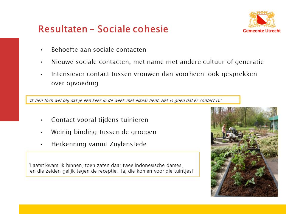 Resultaten – Sociale cohesie
