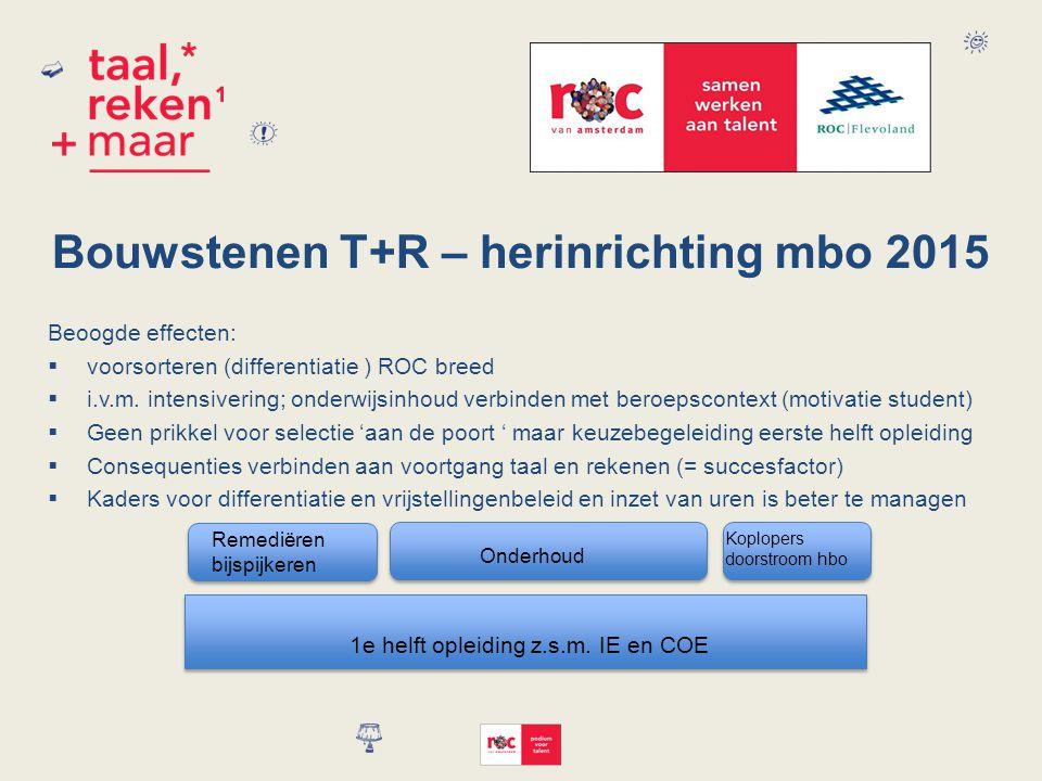 Bouwstenen T+R – herinrichting mbo 2015
