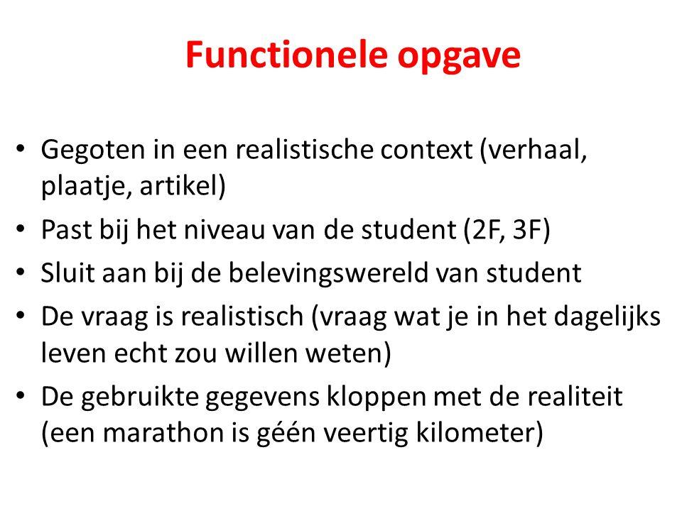 Functionele opgave Gegoten in een realistische context (verhaal, plaatje, artikel) Past bij het niveau van de student (2F, 3F)