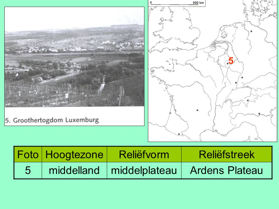 Foto Hoogtezone Reliëfvorm Reliëfstreek 5 middelland middelplateau